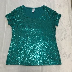 Green size large sequin T-shirt